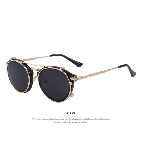 MERRY'S Women Steampunk Round Sunglasses