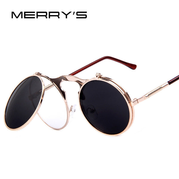 MERRY'S Women Steampunk Vintage-style round Sunglasses with Flip-Up Shades