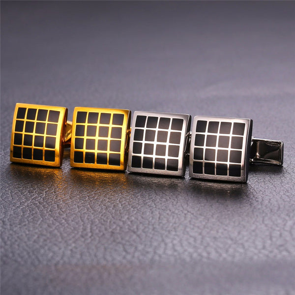 U7 Black Enamel Checker Square Cufflinks with box