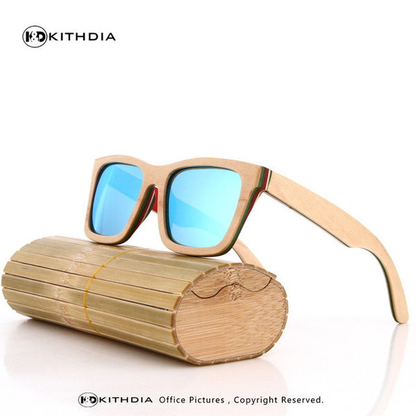 KITHDIA Skateboard Wooden Sunglasses - 8 Colors
