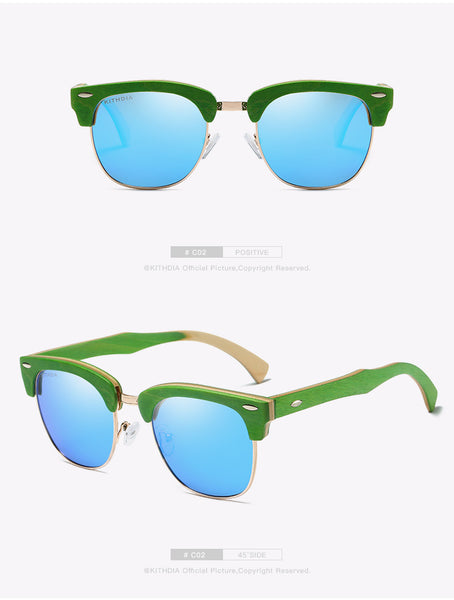 KITHDIA Half Skateboard Green Wooden Sunglasses - 4 Colors