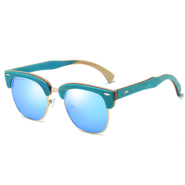 KITHDIA Half Skateboard Blue Wooden Sunglasses - 4 Colors