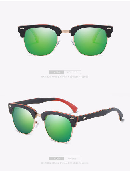 KITHDIA Half Skateboard Wooden Sunglasses - 4 Colors