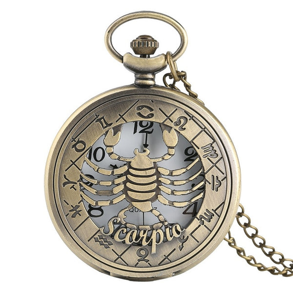 Zodiac Constellations Theme Series Quartz Pocket Watch - 12 choices