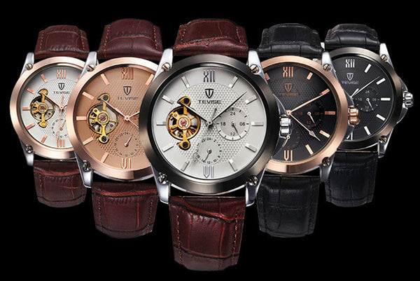 TEVISE Classic Leather Strap Automatic Self-Wind Mechanical Watches