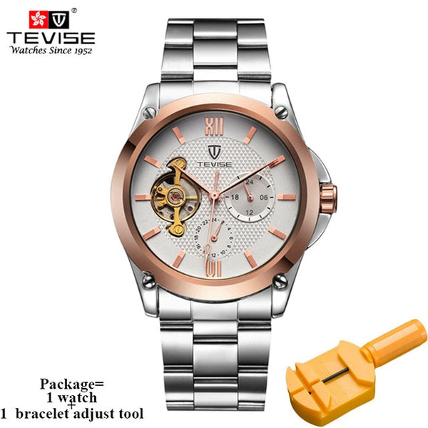 TEVISE Classic Stainless Steel Automatic Self-Wind Mechanical Watches