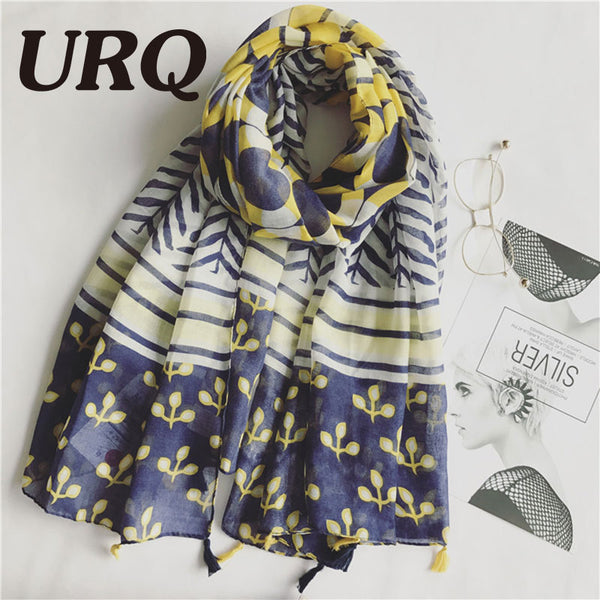 Tassel Scarf Striped Yellow Flowers Design