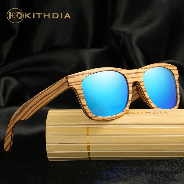 Blue Zebra Wooden Sunglasses