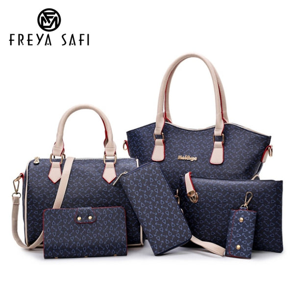 Six Pieces Set Leather Handbags - Blue Color