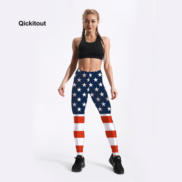 American Flag Stars and Stripes Printed Leggings
