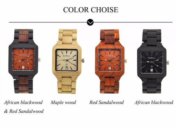 BEWELL Classic Square Wood Wristwatch