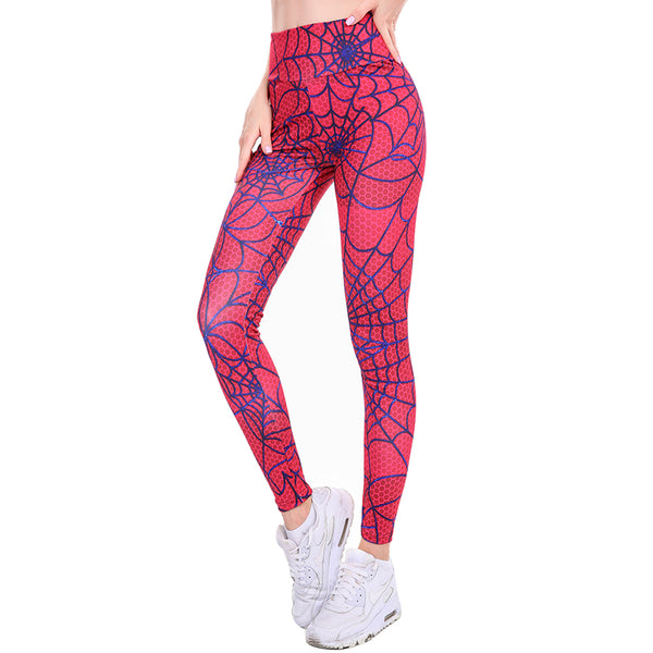 Red Spider Web Print Yoga Leggings