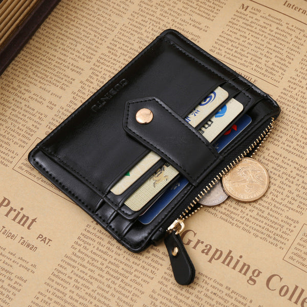 Business Ultra-Slim Style Wallets with Coins Zipper