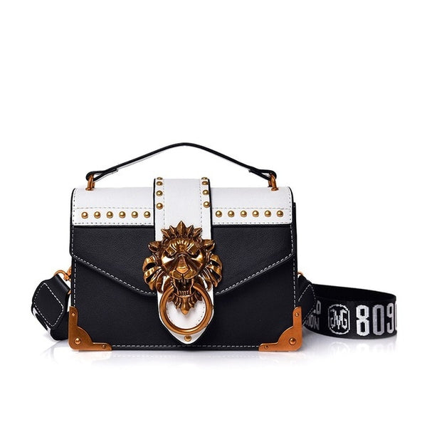 Designer Metal Lion Head Handbag - Black Color