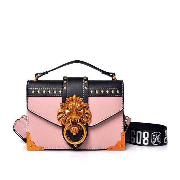 Designer Metal Lion Head Handbag - Pink Color