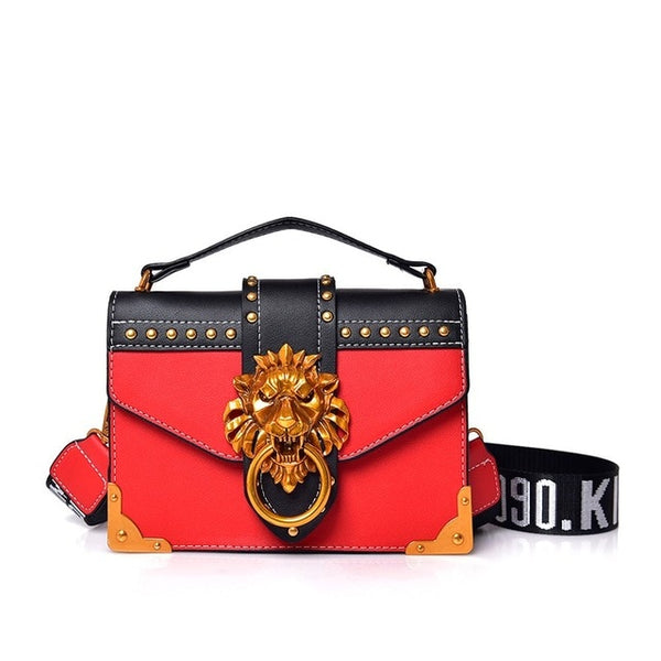 Designer Metal Lion Head Handbag - Red Color