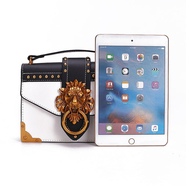 Designer Metal Lion Head Handbag - White Color