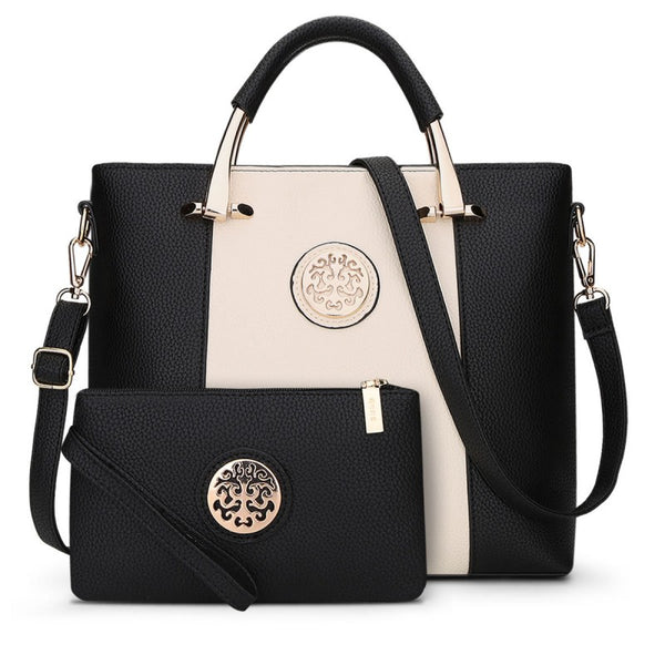 Two Pieces Set Leather Handbags - Black and White Color