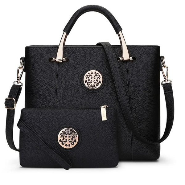 Two Pieces Set Leather Handbags - Black Color