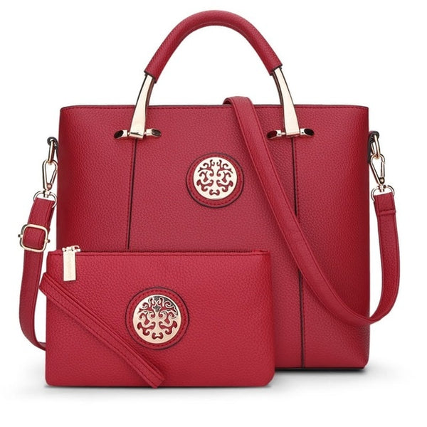 Two Pieces Set Leather Handbags - Red Color