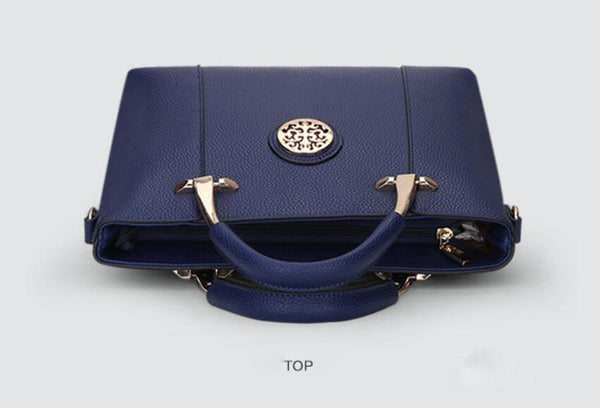 Two Pieces Set Leather Handbags - Blue Color
