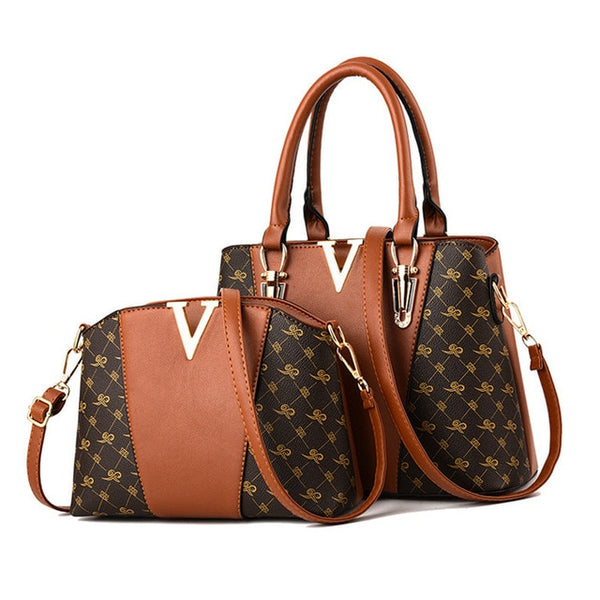 Two Pieces Set Leather Handbags - Caramel Color