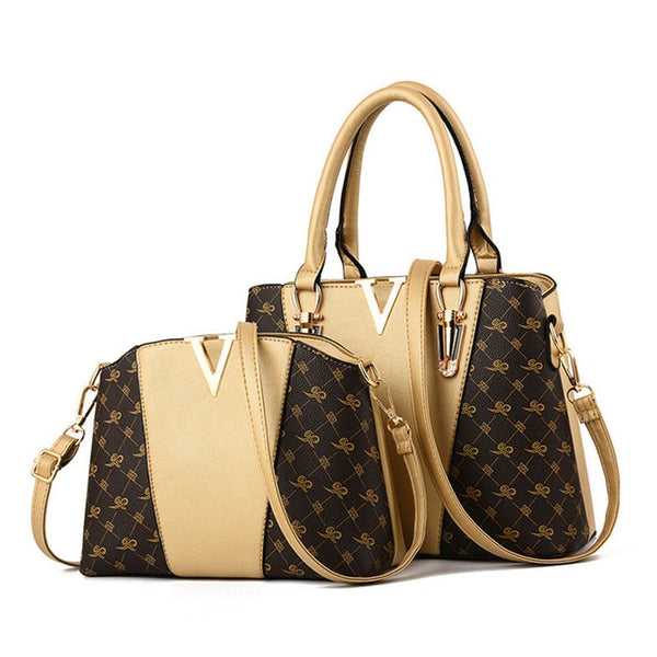 Two Pieces Set Leather Handbags - Gold Color