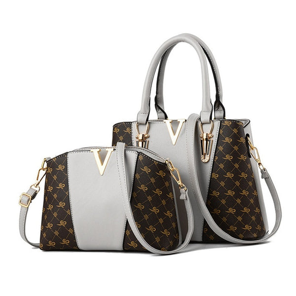 Two Pieces Set Leather Handbags - Grey Color