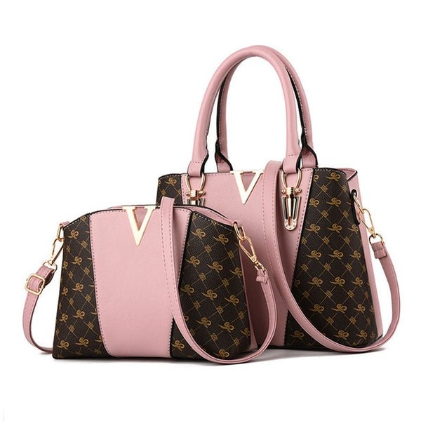 Two Pieces Set Leather Handbags - Pink Color