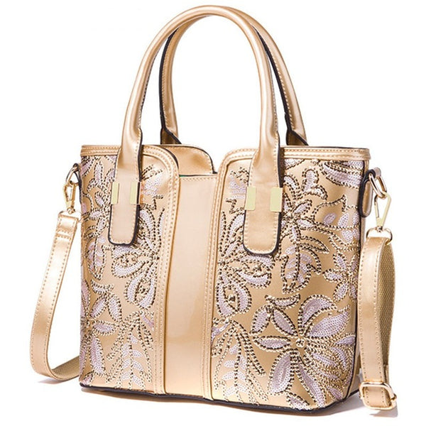 Gold Embroidered Crossbody Handbag