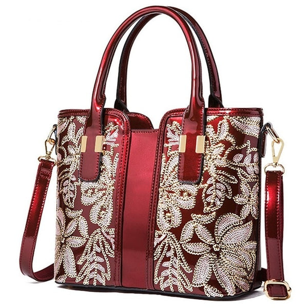 Red Embroidered Crossbody Handbag