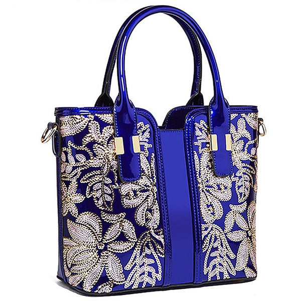 Blue Embroidered Crossbody Handbag