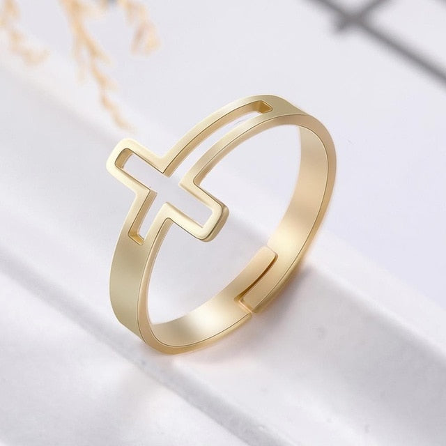 New Faithful Sight Adjustable Cross Ring