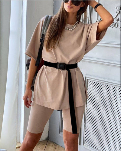 2 piece casual set - Biker Spandex Shorts with Cotton oversize top
