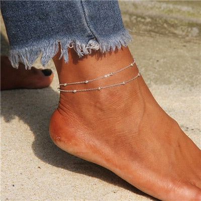 Layered Heart Anklet