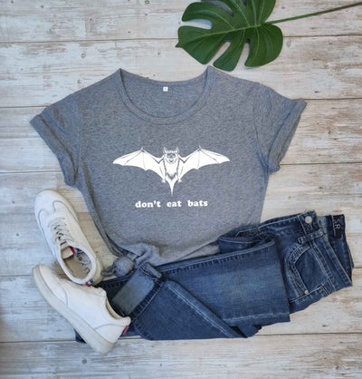 Don't eat bats slogan graphic women fashion pure cotton casual funny gift grunge tumblr young hipster tees party cool girl tops