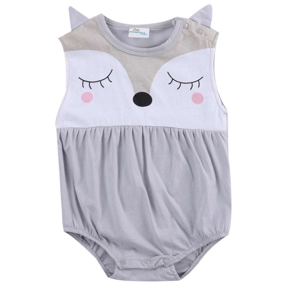 Cartoon Baby Boy Girls Infant Fox Romper Jumpsuit Sleeveelss Summer Outfit 0-24M - The Kids Line