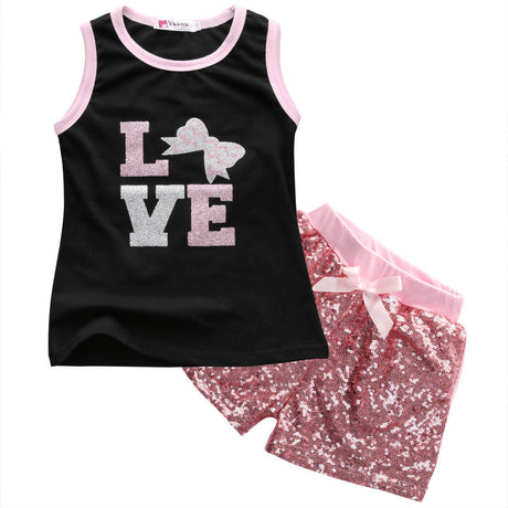 2pcs/set Kids Baby Girls Summer Love Tops T-shirt +Sequins Shorts 2Pcs Set r clothing set baby girl 1-6Y - The Kids Line