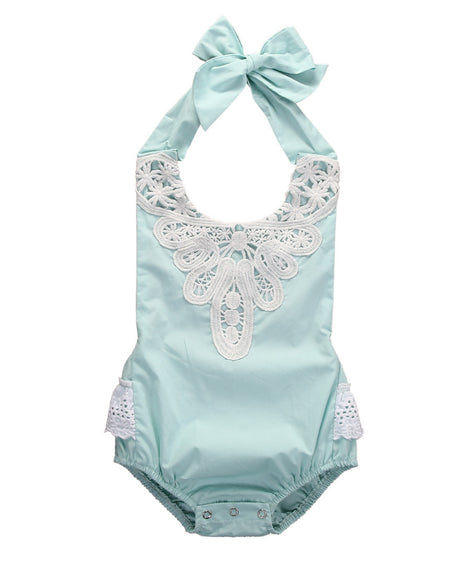 Kids Baby Girl Spaghetti straps Halter Sky Blue lace Romper Backless Jumpsuit Lace Sunsuit Outfits One-pieces - The Kids Line