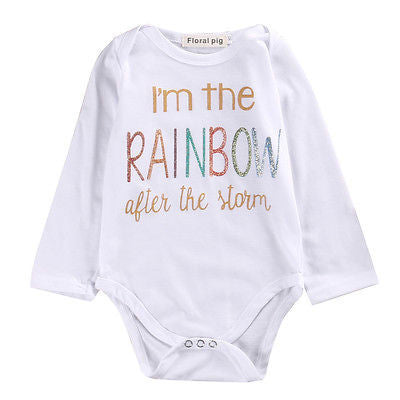 Newborn Infant Baby Boy Girl Cotton Long Sleeve  Romper rainbow Printed Jumpsuit Kids Clothes Outfit - The Kids Line