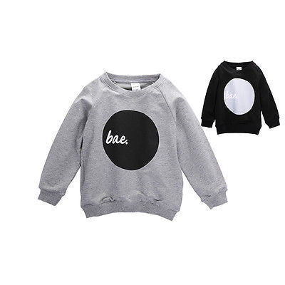 Fashion Boy Girls Casual Long Sleeve Cotton T shirt Gray and Black - The Kids Line