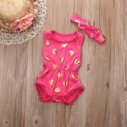 2Pcs/Set  Gilding Newborn Baby Girl Clothes Polka Dot Tassel Romper Sleeveless Jumpsuit Sunsuit +Headband Outfits Set - The Kids Line