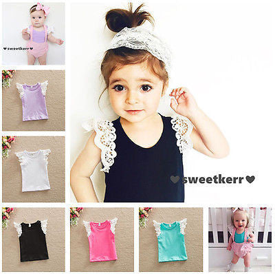 Casual Lace Patchwork Short Sleeve Cotton T-shirt Tops Clothes Age 0-4Y - The Kids Line