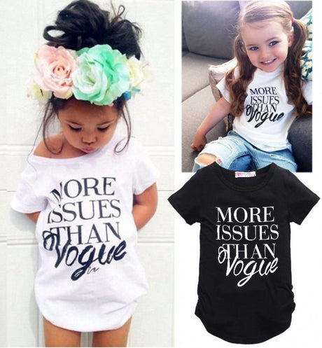 new fashion baby girls cotton t shirt Girls Summer Letter Print Tops Short sleeve T-shirt Clothes 2-7Y - The Kids Line