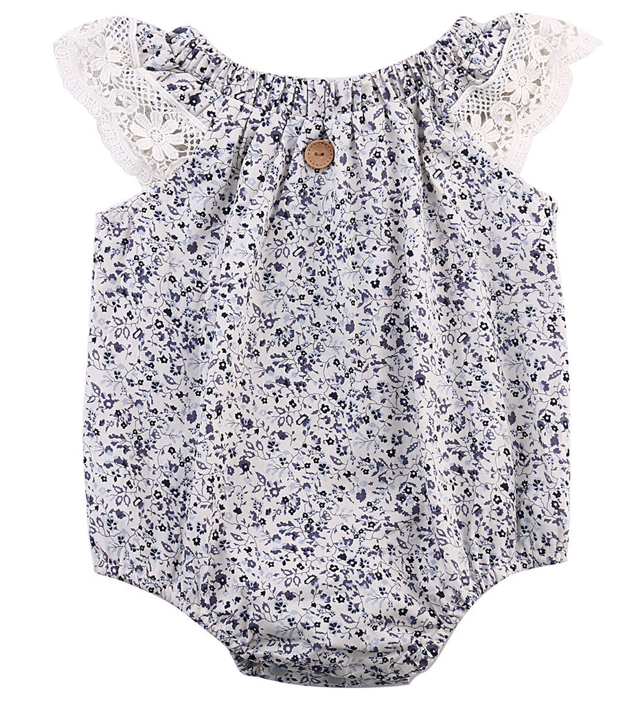 Newborn Baby Girls Clothes  Lace stitching Floral Romper Jumpsuit Playsuit Outfit - The Kids Line