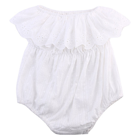 One-piece Newborn Baby Girl Kids Clothes Hollow out lace Off-shoulder Romper Jumpsuit Outfits - The Kids Line