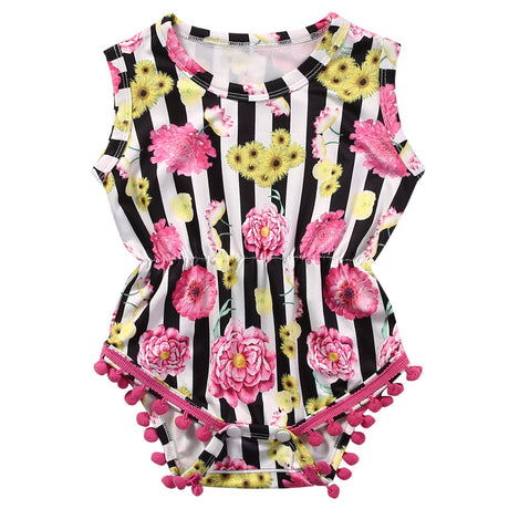 Striped Newborn Toddler Infant Baby Girl Sleeve Floral Romper Tassel Jumpsuit Outfit Sunsuit Clothes - The Kids Line