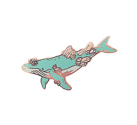 Crystal Whale Pin