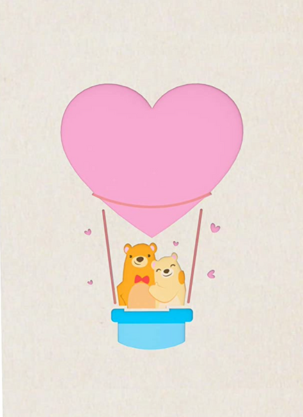 Valentine's day card, bear cupple in hot air balloon