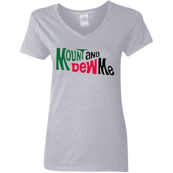 Mount N Dew Ladies' 5.3 oz. V-Neck T-Shirt-T-Shirts-kusheclothing